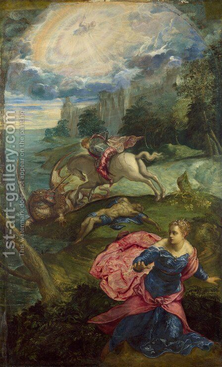 St. George and the Dragon 1555-58 by Jacopo Tintoretto (Robusti) - Reproduction Oil Painting
