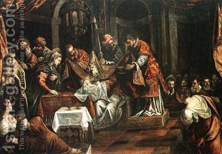 The Circumcision c. 1587 by Jacopo Tintoretto (Robusti) - Reproduction Oil Painting