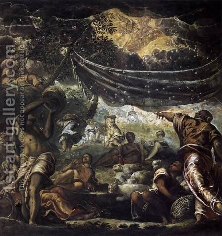 The Miracle of Manna 1577 by Jacopo Tintoretto (Robusti) - Reproduction Oil Painting