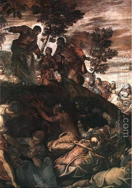 The Miracle of the Loaves and Fishes 1578-81 by Jacopo Tintoretto (Robusti) - Reproduction Oil Painting