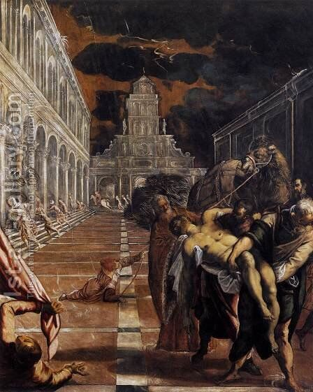 The Stealing of the Dead Body of St Mark 1562-66 by Jacopo Tintoretto (Robusti) - Reproduction Oil Painting