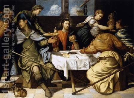 The Supper at Emmaus 1542-43 by Jacopo Tintoretto (Robusti) - Reproduction Oil Painting