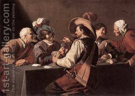 The Card Players by Theodoor Rombouts - Reproduction Oil Painting