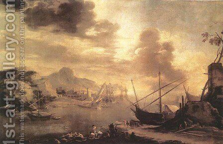 View of the Gulf of Salerno 1640-45 by Salvator Rosa - Reproduction Oil Painting