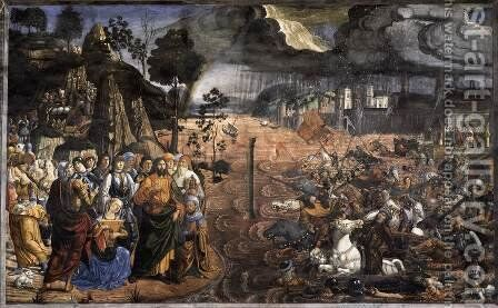 Crossing of the Red Sea 1481-82 by Cosimo Rosselli - Reproduction Oil Painting