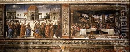 Scenes on the left wall 1481-82 by Cosimo Rosselli - Reproduction Oil Painting