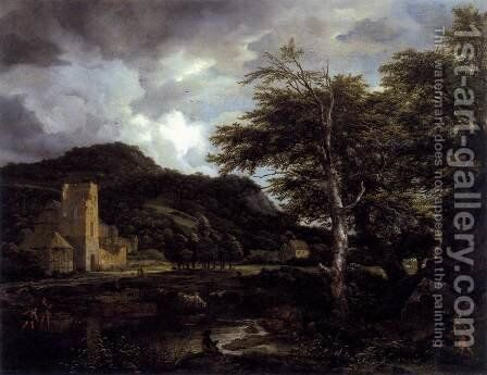 The Cloister 1650-55 by Jacob Van Ruisdael - Reproduction Oil Painting