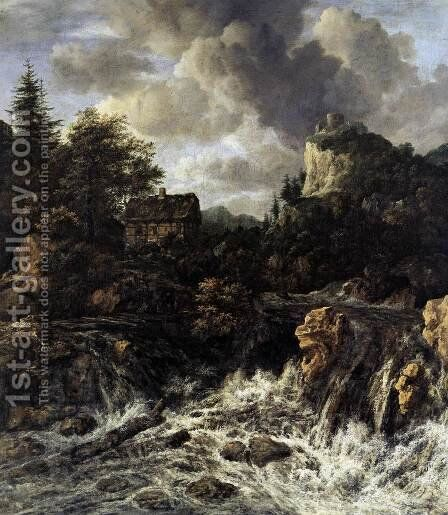 The Waterfall 1665-70 by Jacob Van Ruisdael - Reproduction Oil Painting