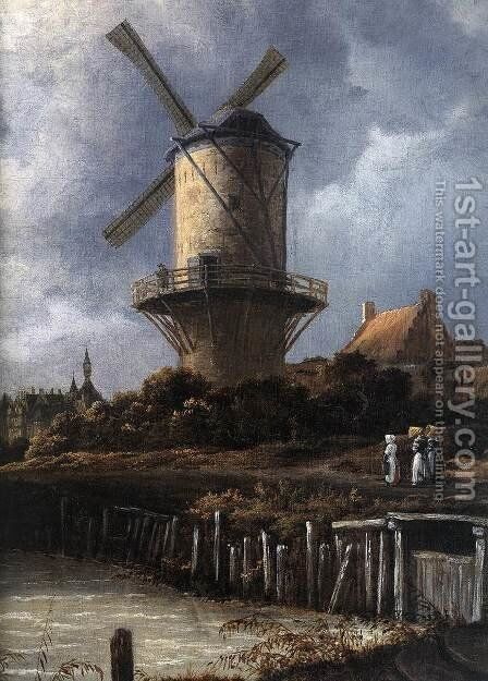 The Windmill at Wijk bij Duurstede (detail) c. 1670 by Jacob Van Ruisdael - Reproduction Oil Painting