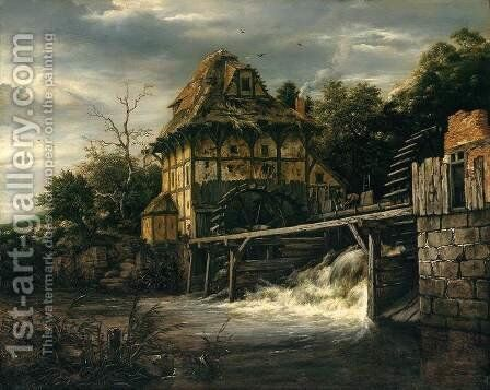 Two Undershot Water-Mills with Men Opening a Sluice 1650s by Jacob Van Ruisdael - Reproduction Oil Painting