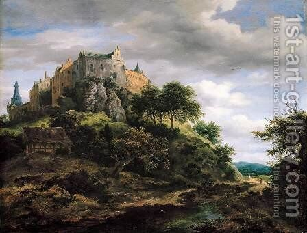View of Bentheim Castle from the North-West c. 1652 by Jacob Van Ruisdael - Reproduction Oil Painting