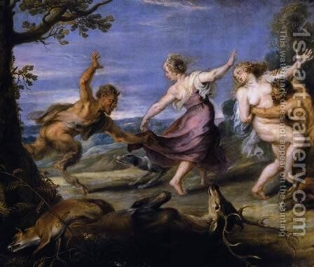 Diana and her Nymphs Surprised by the Fauns (detail-1) 1638-40 by Rubens - Reproduction Oil Painting