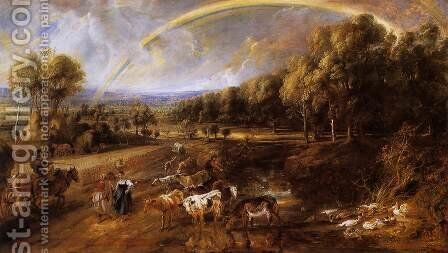 Landscape with a Rainbow c. 1638 by Rubens - Reproduction Oil Painting