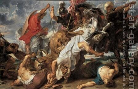 Lion Hunt c. 1621 by Rubens - Reproduction Oil Painting
