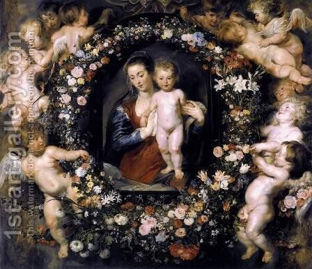 Madonna in Floral Wreath c. 1620 by Rubens - Reproduction Oil Painting