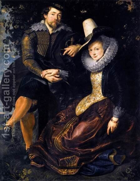 The Artist and His First Wife, Isabella Brant, in the Honeysuckle Bower 1609-10 by Rubens - Reproduction Oil Painting