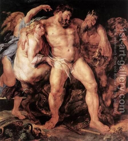 The Drunken Hercules c. 1611 by Rubens - Reproduction Oil Painting