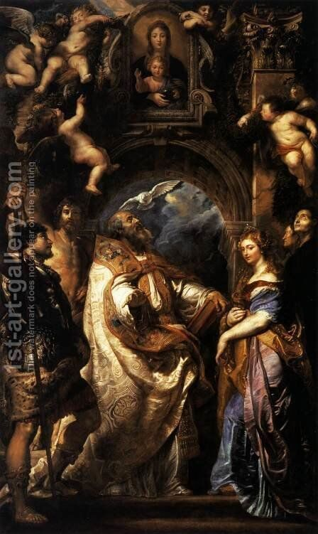 The Ecstasy of St Gregory the Great 1608 by Rubens - Reproduction Oil Painting