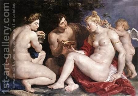Venus, Cupid, Baccchus and Ceres 1612-13 by Rubens - Reproduction Oil Painting