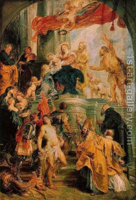 Virgin and Child Enthroned with Saints c. 1628 by Rubens - Reproduction Oil Painting