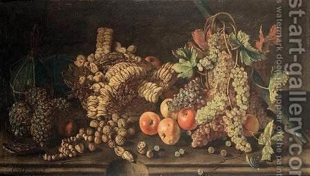 Fruit Still-Life (2) by Giovanni Battista Ruoppolo - Reproduction Oil Painting