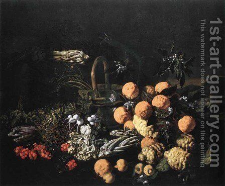 Still-life in a Landscape by Giovanni Battista Ruoppolo - Reproduction Oil Painting
