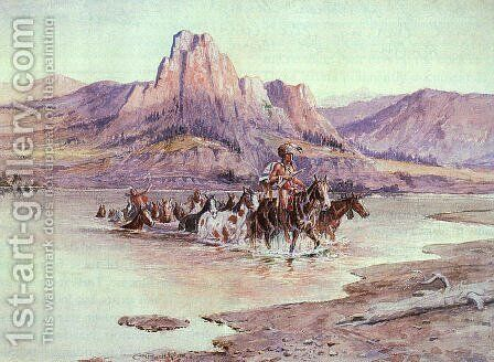 Return of the Horse Thieves 1900 by Charles Marion Russell - Reproduction Oil Painting