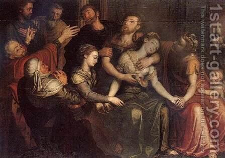The Death of Lucretia 1561 by Bernaert de Ryckere - Reproduction Oil Painting