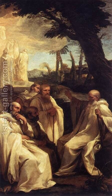 The Vision of St Romuald c. 1631 by Andrea Sacchi - Reproduction Oil Painting