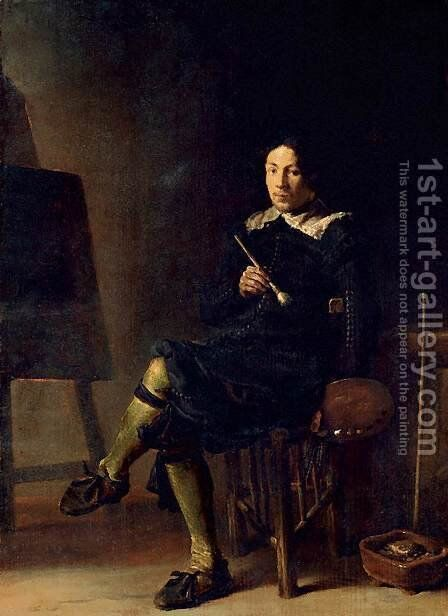 Selfportrait with Easel 1629 by Cornelis Saftleven - Reproduction Oil Painting