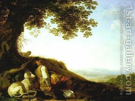 Hunter Sleeping on a Hillside by Herman Saftleven - Reproduction Oil Painting