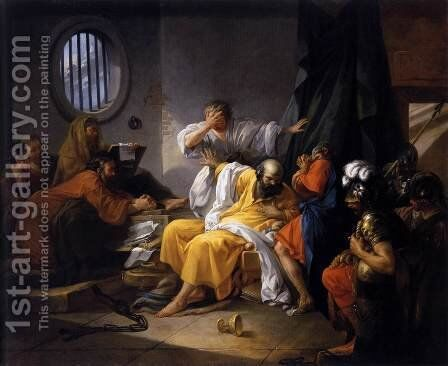 The Death of Socrates 1762 by Jacques-Philip-Joseph de Saint-Quentin - Reproduction Oil Painting