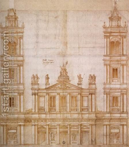 Design for the facade of San Lorenzo, Florence 1516 by Giuliano da Sangallo - Reproduction Oil Painting