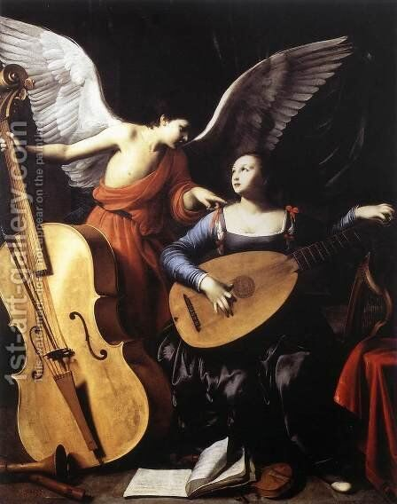 Saint Cecilia and the Angel c. 1610 by Carlo Saraceni - Reproduction Oil Painting