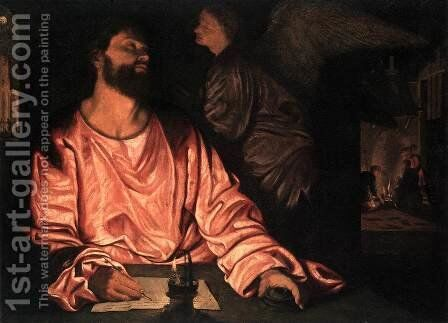 St Matthew and the Angel c. 1534 by Giovanni Girolamo Savoldo - Reproduction Oil Painting