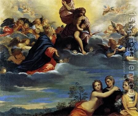 Virigin and Angels Imploring Christ not to Punish Lust, Avarice, and Pride by Ippolito Scarsella (see Scarsellino) - Reproduction Oil Painting