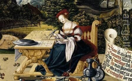 Painted tabletop for Erasmus Stedelin (detail-3) 1533 by Martin Schaffner - Reproduction Oil Painting