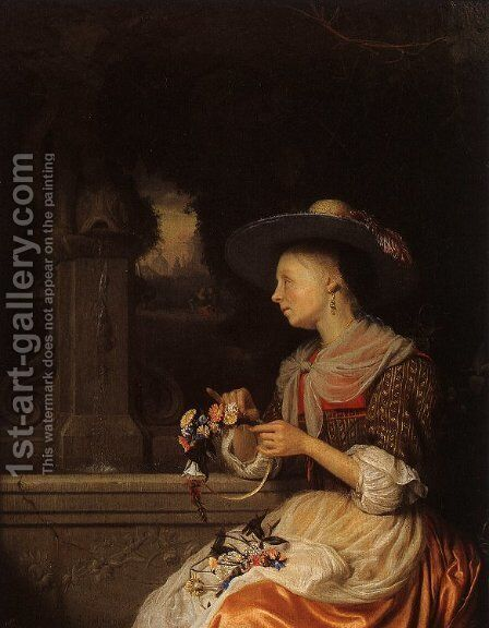 Young Woman Weaving a Garland by Godfried Schalcken - Reproduction Oil Painting