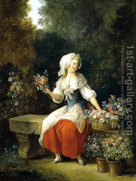 Flower-Woman in Red Apron by Jean-Frederic Schall - Reproduction Oil Painting