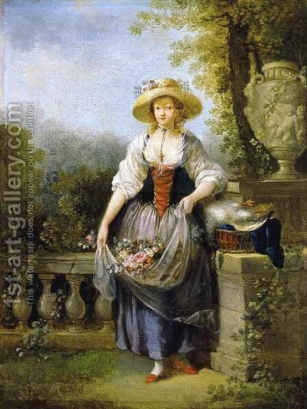 Gardener in Straw Hat by Jean-Frederic Schall - Reproduction Oil Painting
