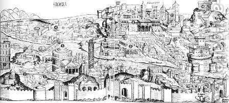 Nuremberg Chronicle- View of Rome 1493 by Hartmann Schedel - Reproduction Oil Painting