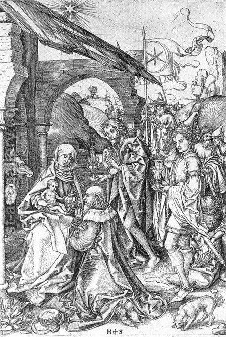 Adoration of the Magi c. 1475 by Martin Schongauer - Reproduction Oil Painting