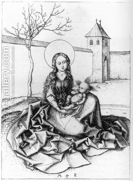 Madonna and Child in the Couryard c. 1480 by Martin Schongauer - Reproduction Oil Painting