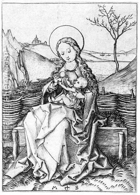 Madonna on the Turf Bench by Martin Schongauer - Reproduction Oil Painting