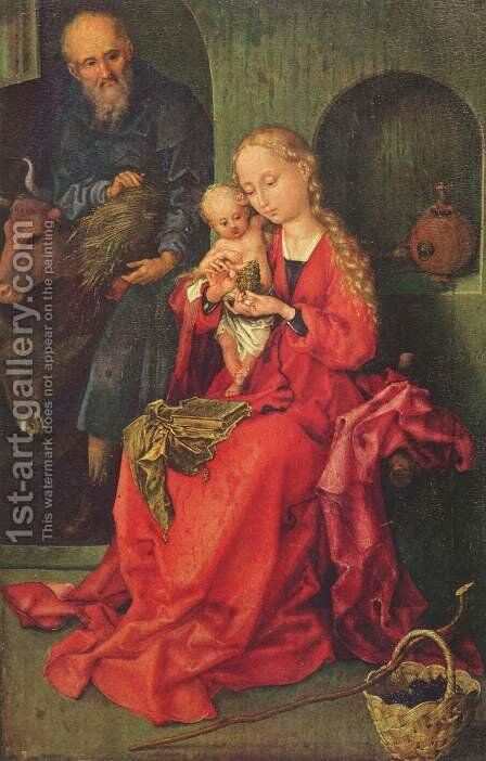 The Holy Family 1475-80 by Martin Schongauer - Reproduction Oil Painting