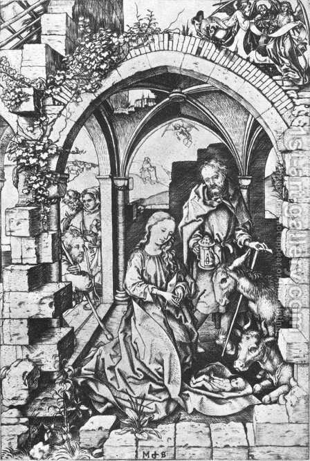 The Nativity c. 1470 by Martin Schongauer - Reproduction Oil Painting