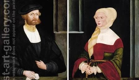 Portraits of a Gentleman and a Lady 1538 by Hans the Elder Schopfer - Reproduction Oil Painting