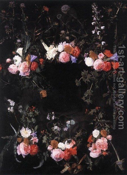Garland of Flowers by Daniel Seghers - Reproduction Oil Painting