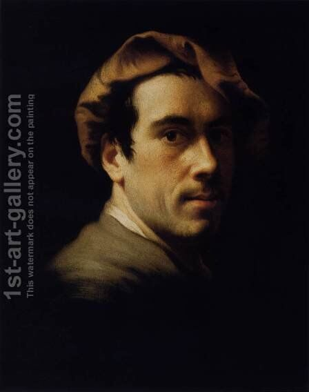 Self-Portrait as a Young Man 1720s by Christian Seybold - Reproduction Oil Painting