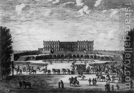 Garden Front in Versailles 1669 by Israël Silvestre the Younger - Reproduction Oil Painting